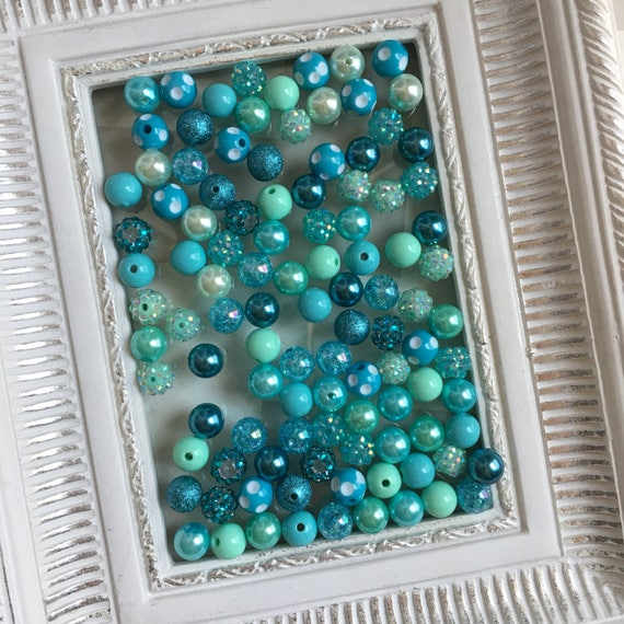 """12mm  """"Wintergreen/ Turquoise """"  {100 count}  Chunky Bubble Gum Bead Wholesale Bulk Bead Lot for Necklaces or Bracelets"""