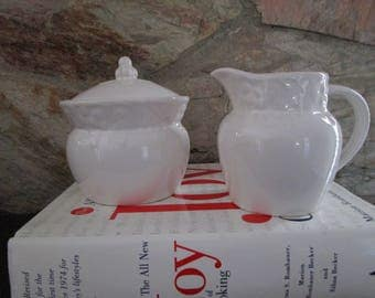 White Embossed with Fruit Creamer and Sugar Bowl