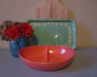 Orange Splatter Melmac Divided Bowl