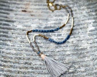 Long tassel necklace. Long beaded necklace. Boho necklace
