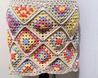PDF crochet pattern Patch-Work Skirt