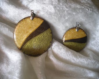fall colours wooden cabochon pendant, handmade, 2 pieces