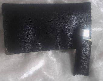 tobacco pouch and lighter, feminine black cover, handmade