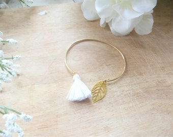 Bangle gold leaf and white Pom Pom