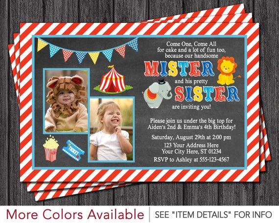 Circus birthday invitation siblings carnival invitation brother il570xn stopboris Image collections