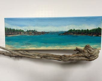 Original acrylic painting, mounted on driftwood, mini painting