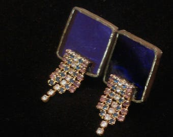 Vintage Square Deep Purple Clip On Earrings with Multi Colored Rhinestones