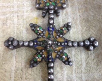 Late 19 th century Berber silver and enamel southern cross