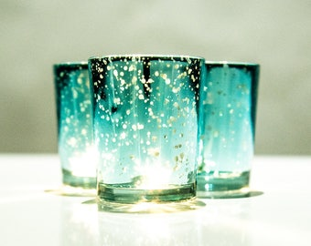 Set of 12 MERCURY Turquoise Speckled Glass Candle Holders Votive Holder Led Candleholder Tea Light Wedding 2.5 Winter Christmas