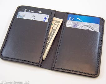 Black Horween Leather Wallet with Black Hand Stitching, Minimal Wallet, Front Pocket Wallet, Slim Wallet,  Bill Fold Wallet
