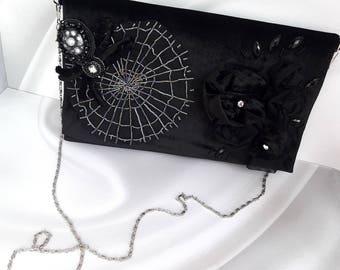 Black women clutch Velvet women bag Party large clutch Flat clutch purse Goth party Rectangular handbag Dark evening bag Dark clutch