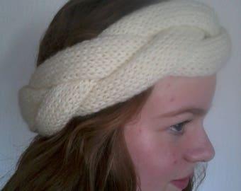 reversible headband three bands cross ecru