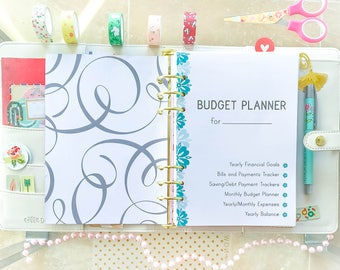 Half Size BUDGET PLANNER Half-Letter Filofax Inserts Monthly Financial Bills Saving Expenses tracker printable 12 pages Instant Download
