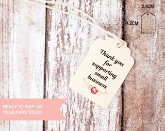 25pcs Thank you for supporting small business small scallop top tags 110lb card stock ready to ship