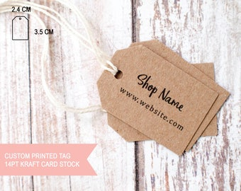 Custom printed 18pt kraft card stock small paper tag your logo and website