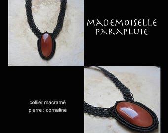 carnelian stone black macrame necklace