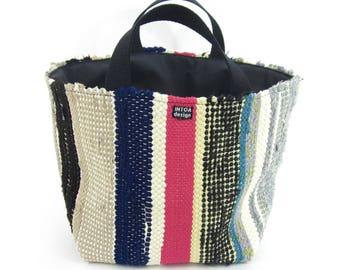 """Basket of recycled rag rugs, 24 cm (9"""")"""