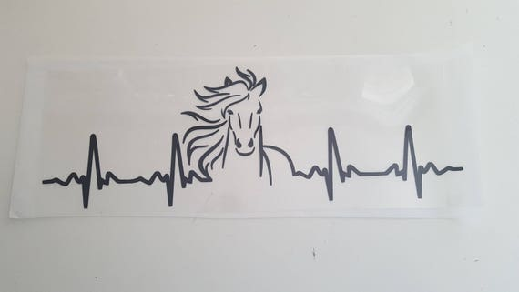 Sale 4x12 Horse Ekg Heartbeat Black Vinyl Diy