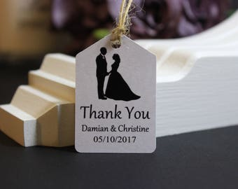THANK YOU Gift Tags, Personalised Handmade Wedding Favour Tags, Guest Favours, Sweets, Candy, Treats Tables Labels, Supplied with TwineTGS17