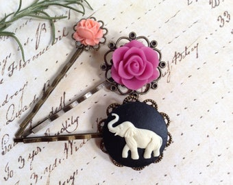 Elephant And Spring Flower Hair Clips