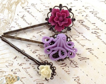 Lavender Octo And Floral Hair Clips