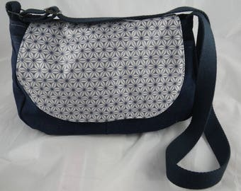 Sac027 - Blue Messenger bag Navy and grey denim