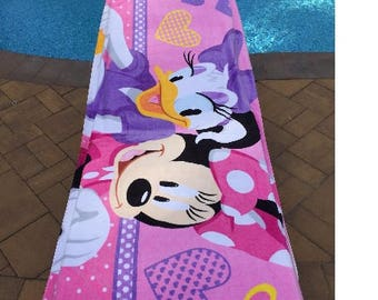 Oversize Minnie MOUSE Daisy DUCK Beach Towel - Personalized Beach Towel - 30x60