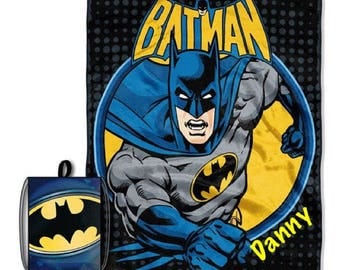 "Batman 'Break Out' Drawstring Tote and Throw Set  and 40"" by 50"" Fleece Throw Set  PERSONALIZED"