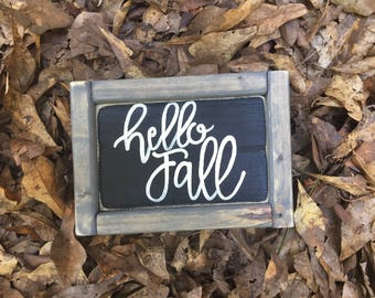 Hello Fall Wood Sign, mini sign, fall wood decor