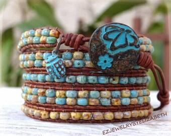 Beaded Wrap Bracelet/ Boho Seed Bead Wrap Bracelet/ Seed Bead Bracelet/ Boho Wrap Bracelet/ Leather Bracelet/ Beaded Wrap Bracelet.