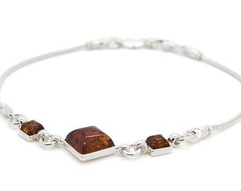 Amber Chain Bracelet - Amber Bracelet - Amber Link Bracelet - Sterling Silver Amber Bracelet - Chain Bracelet - Amber Jewelry -323B1