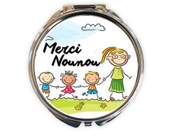 "Pocket mirror silver, ""thank you nanny"", image 5cm diameter"