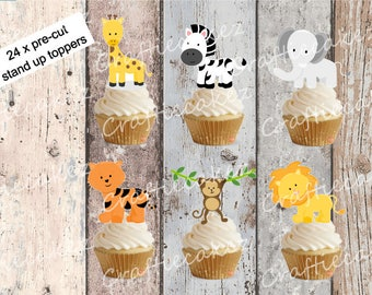 24 x Edible Pre Cut Safari Animals Stand Up Cupcake Toppers