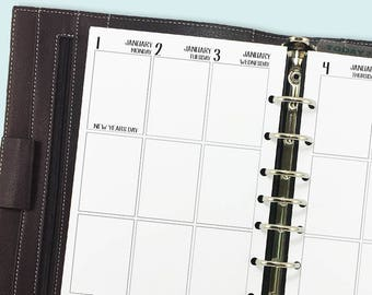 Half size 2018 Complete Vertical printed planner calendar - monthly & weekly - month on two pages - week on two pages -  Mo2P - Wo2P