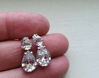 Beautiful Vintage Sterling Silver and Rose Cut CZ Cluster Dangle Earrings