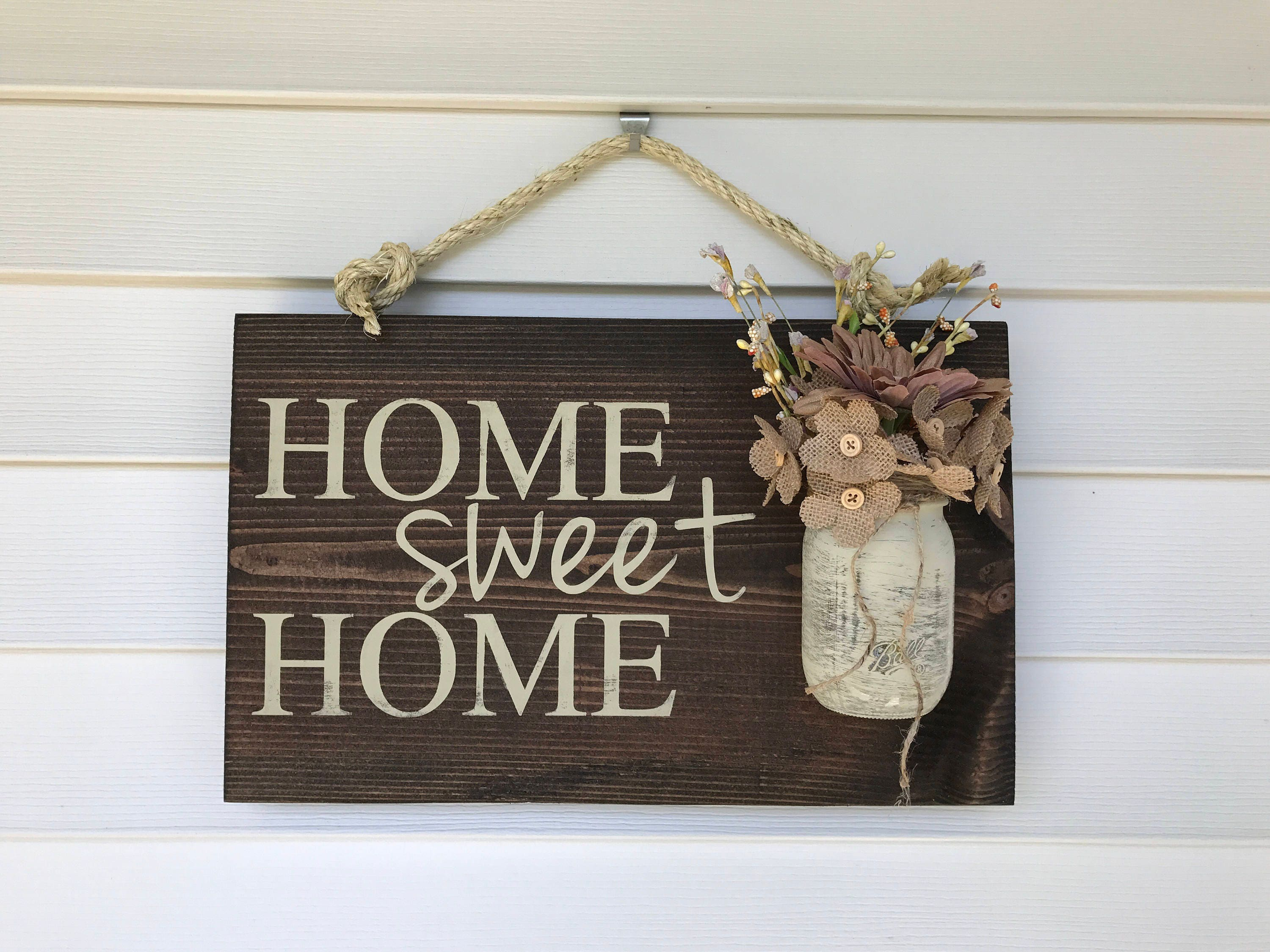 mason jar home sign home sweet home sign rustic home sign. Black Bedroom Furniture Sets. Home Design Ideas
