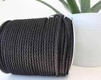 BLACK Cotton rope macrame 5mm 3 strand, 100 feets or 200 feets bundle