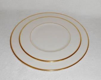 Lenox Mansfield Pattern Plates Dinner & Salad Gold Rimmed Ivory China