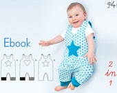 Baby one-piece pattern, dungaree, overall, jumpsuit, playsuit, lined, reversible, girls boys, Ebook pattern pdf