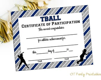 INSTANT DOWNLOAD - Tball Certificate of Achievement - Tball Award - Print at Home - Softball Certificate of Completion - Sports Award