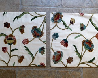 """Pair of Crewel Work Embroidered Cushion Covers 41.5cms or 16 1/2"""" sq."""