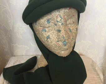 1939s green wool winter driving hat