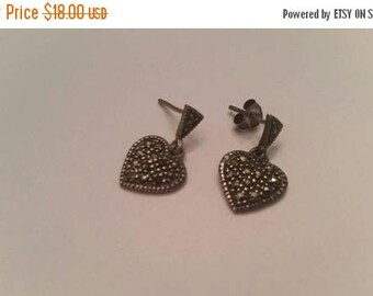 SALE Vintage Sterling Silver Earrings Heart Dangle 925 Jewelry