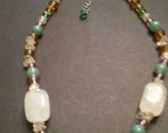 SALE Vintage Glass Beaded Necklace Colorful Jewelry