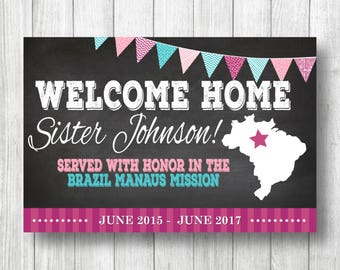 PRINTED VINYL Banner / Missionary Homecoming Banner / Welcome Home Elder Sister Banner / LDS Mission Welcome Home Banner / With Grommets