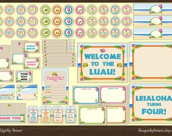 Hawaiian Luau Party / Floral Beach Hawaiian Theme / Tropical Island / DIY Printable Package / Birthday Party Kit / Pdf / INSTANT DOWNLOAD