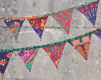 colorful bunting /Patchwork style garland with brass bells
