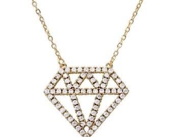 ON SALE Diamond outline necklace