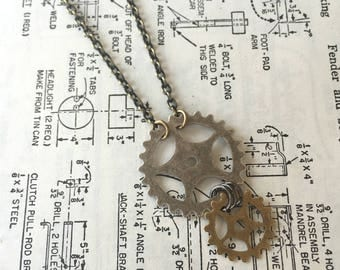 Two Gear Necklace