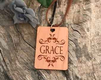 Grace Necklace, Laser Engraved Cherry Wood, Group Gift Ideas, Group Discounts, Wedding Gifts, Laser Engraved, Bursting Barns Designs